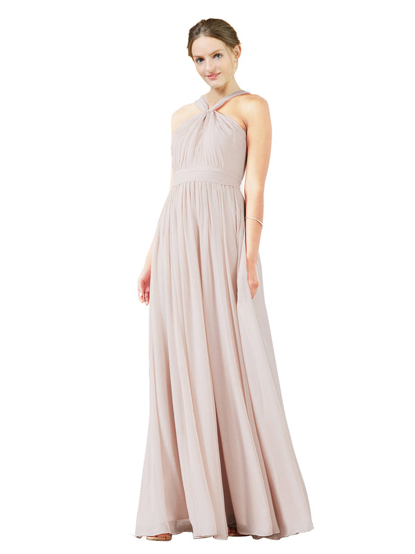 Mila Gowns Isabella Long A-Line V-Neck Chiffon Champagne 42 Bridesmaid Dress Floor Length Sleeveless 174021