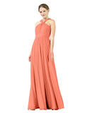Mila Gowns Isabella Long A-Line V-Neck Chiffon Coral Bridesmaid Dress Floor Length Sleeveless 174021