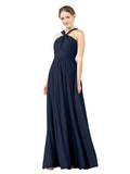 Mila Gowns Isabella Long A-Line V-Neck Chiffon Dark Navy Bridesmaid Dress Floor Length Sleeveless 174021