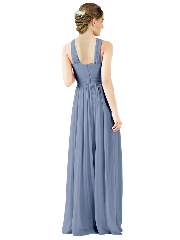 Mila Gowns Isabella Long A-Line V-Neck Chiffon Dusty Blue Bridesmaid Dress Floor Length Sleeveless 174021