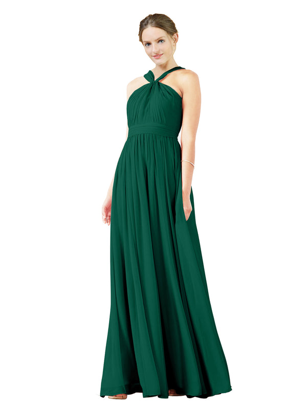 Mila Gowns Isabella Long A-Line V-Neck Chiffon Ever Green Bridesmaid Dress Floor Length Sleeveless 174021
