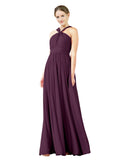 Mila Gowns Isabella Long A-Line V-Neck Chiffon Grape Bridesmaid Dress Floor Length Sleeveless 174021