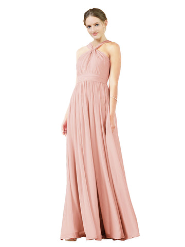Mila Gowns Isabella Long A-Line V-Neck Chiffon Ice Pink Bridesmaid Dress Floor Length Sleeveless 174021
