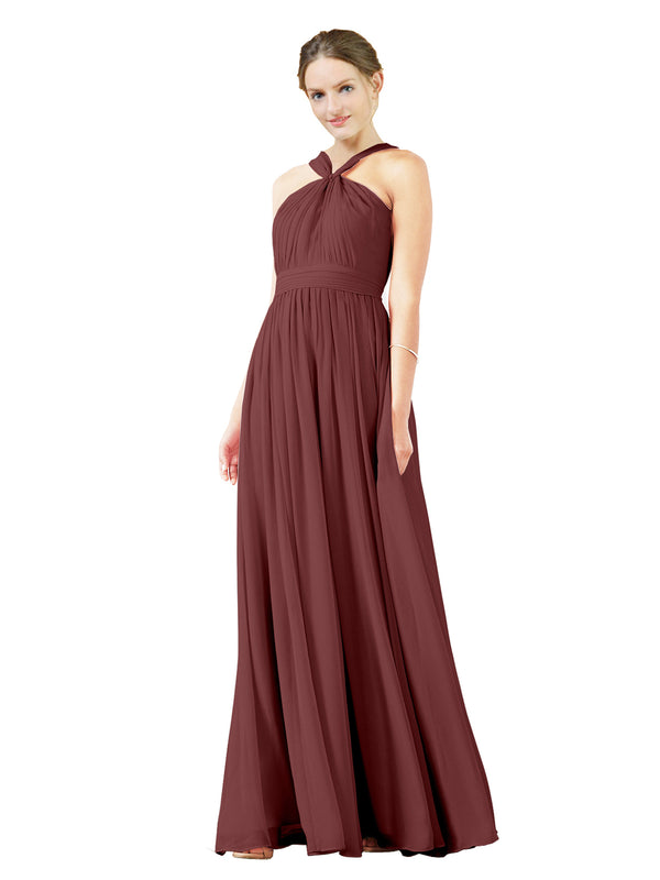 Mila Gowns Isabella Long A-Line V-Neck Chiffon Marsala Bridesmaid Dress Floor Length Sleeveless 174021