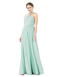 Mila Gowns Isabella Long A-Line V-Neck Chiffon Mint Green Bridesmaid Dress Floor Length Sleeveless 174021