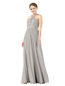 Mila Gowns Isabella Long A-Line V-Neck Chiffon Oyster Silver Bridesmaid Dress Floor Length Sleeveless 174021