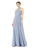 Mila Gowns Isabella Long A-Line V-Neck Chiffon Periwinkle Bridesmaid Dress Floor Length Sleeveless 174021