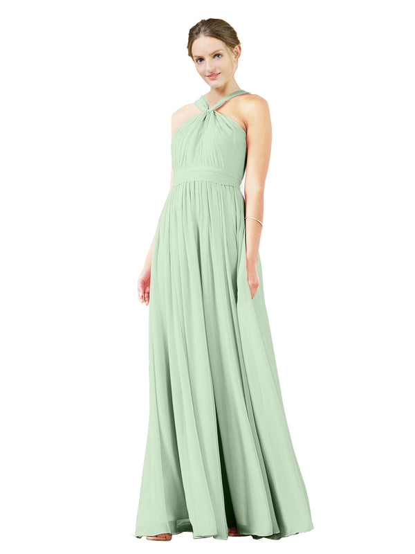 Mila Gowns Isabella Long A-Line V-Neck Chiffon Sage Bridesmaid Dress Floor Length Sleeveless 174021