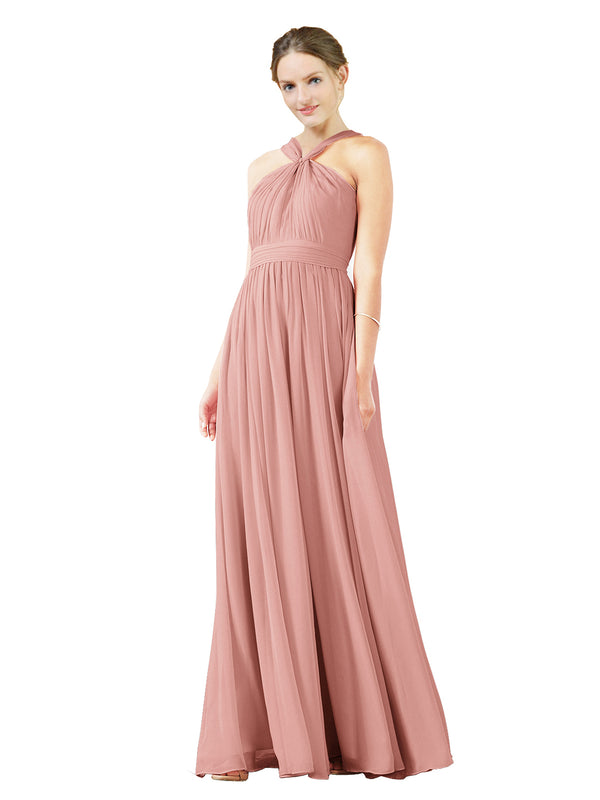 Mila Gowns Isabella Long A-Line V-Neck Chiffon Salmon Bridesmaid Dress Floor Length Sleeveless 174021