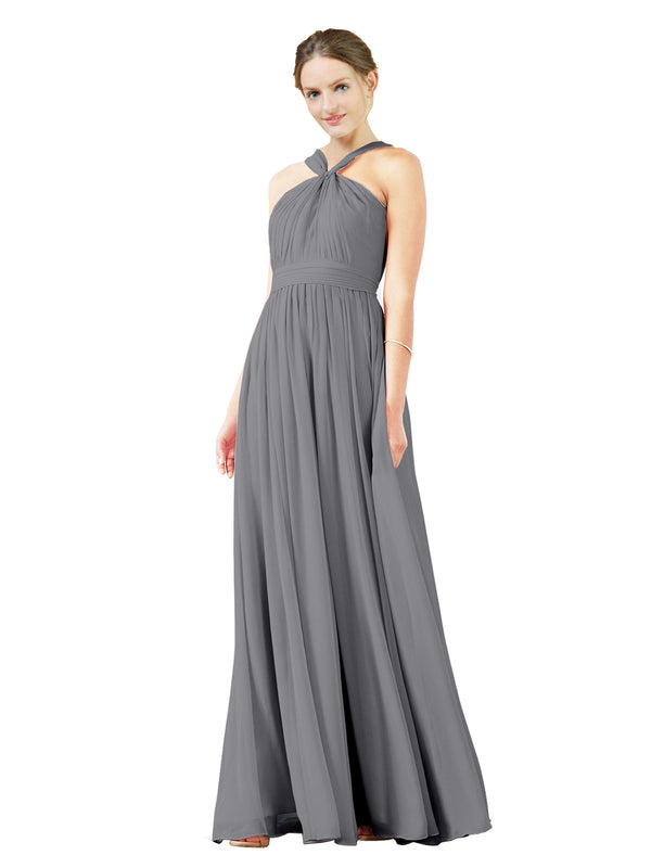 Mila Gowns Isabella Long A-Line V-Neck Chiffon Slate Grey Bridesmaid Dress Floor Length Sleeveless 174021
