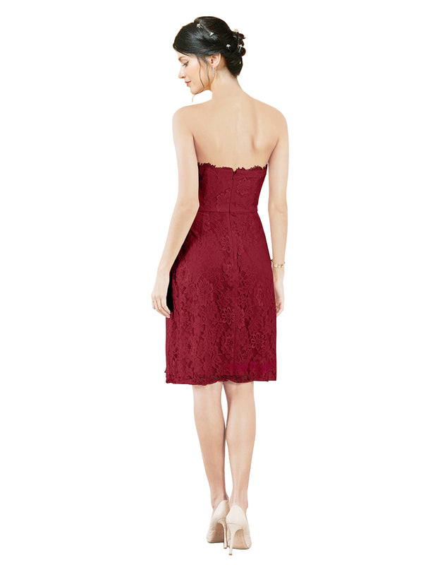 Mila Gowns Leah Short A-Line Sweetheart Lace Burgundy Bridesmaid Dress Knee Length Sleeveless 174055