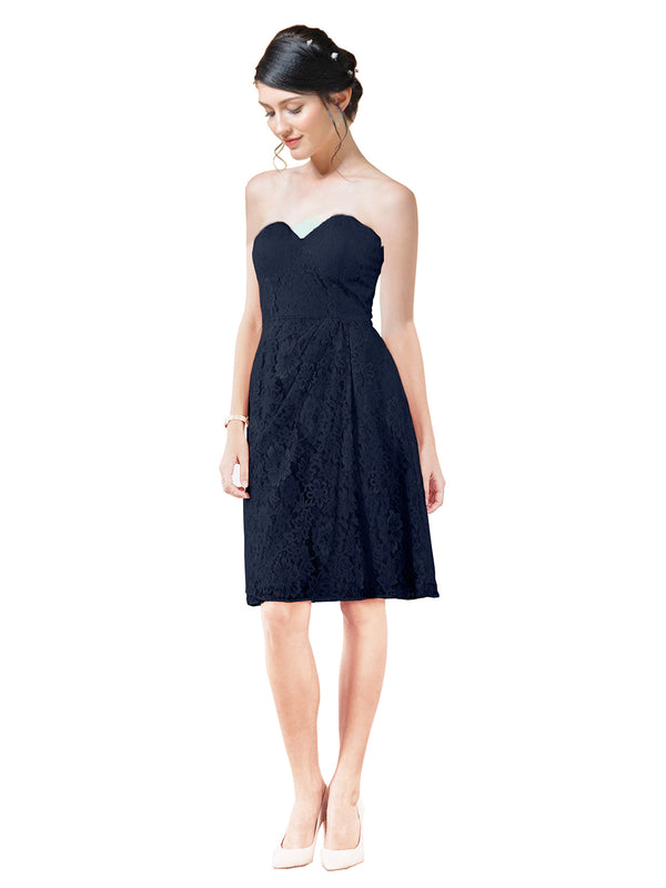 Mila Gowns Leah Short A-Line Sweetheart Lace Dark Navy Bridesmaid Dress Knee Length Sleeveless 174055