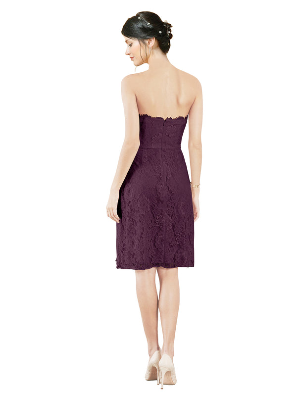 Mila Gowns Leah Short A-Line Sweetheart Lace Grape Bridesmaid Dress Knee Length Sleeveless 174055