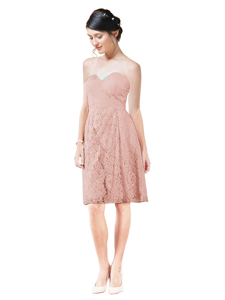 Mila Gowns Leah Short A-Line Sweetheart Lace Pink Bridesmaid Dress Knee Length Sleeveless 174055