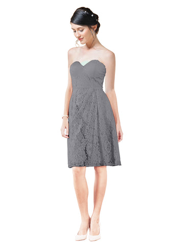 Mila Gowns Leah Short A-Line Sweetheart Lace Slate Grey Bridesmaid Dress Knee Length Sleeveless 174055