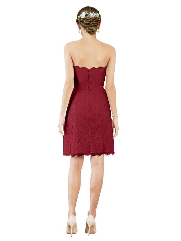 Mila Gowns Luna Short A-Line Strapless Lace Burgundy Bridesmaid Dress Knee Length Sleeveless 174052