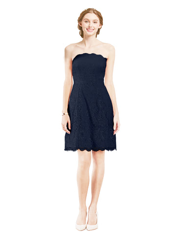 Mila Gowns Luna Short A-Line Strapless Lace Dark Navy Bridesmaid Dress Knee Length Sleeveless 174052