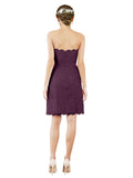 Mila Gowns Luna Short A-Line Strapless Lace Grape Bridesmaid Dress Knee Length Sleeveless 174052