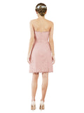 Mila Gowns Luna Short A-Line Strapless Lace Pink Bridesmaid Dress Knee Length Sleeveless 174052