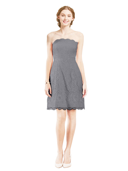 Mila Gowns Luna Short A-Line Strapless Lace Slate Grey Bridesmaid Dress Knee Length Sleeveless 174052