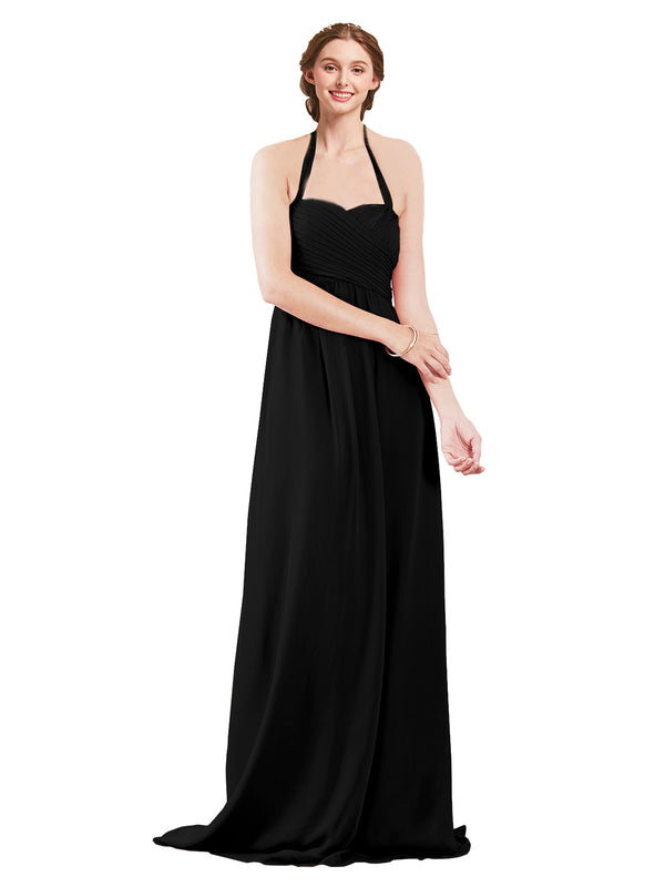 Mila Gowns Madison Long A-Line Sweetheart Halter Chiffon Black Bridesmaid Dress Floor Length Open Back Sleeveless 174033