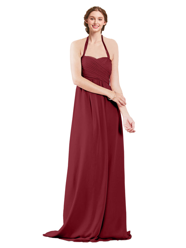 Mila Gowns Madison Long A-Line Sweetheart Halter Chiffon Burgundy Bridesmaid Dress Floor Length Open Back Sleeveless 174033