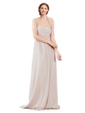 Mila Gowns Madison Long A-Line Sweetheart Halter Chiffon Champagne 42 Bridesmaid Dress Floor Length Open Back Sleeveless 174033