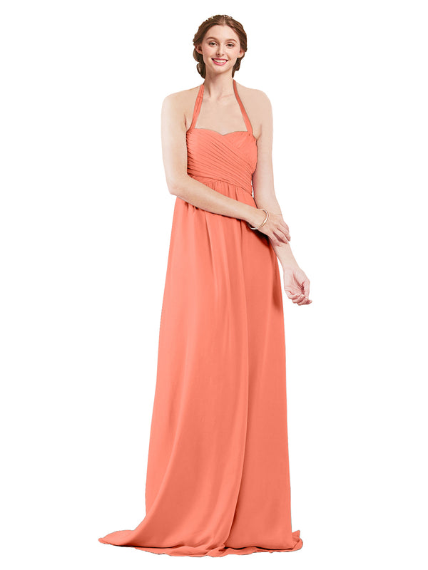Mila Gowns Madison Long A-Line Sweetheart Halter Chiffon Coral Bridesmaid Dress Floor Length Open Back Sleeveless 174033