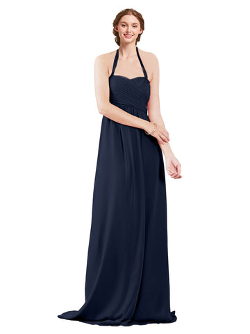 Mila Gowns Madison Long A-Line Sweetheart Halter Chiffon Dark Navy Bridesmaid Dress Floor Length Open Back Sleeveless 174033