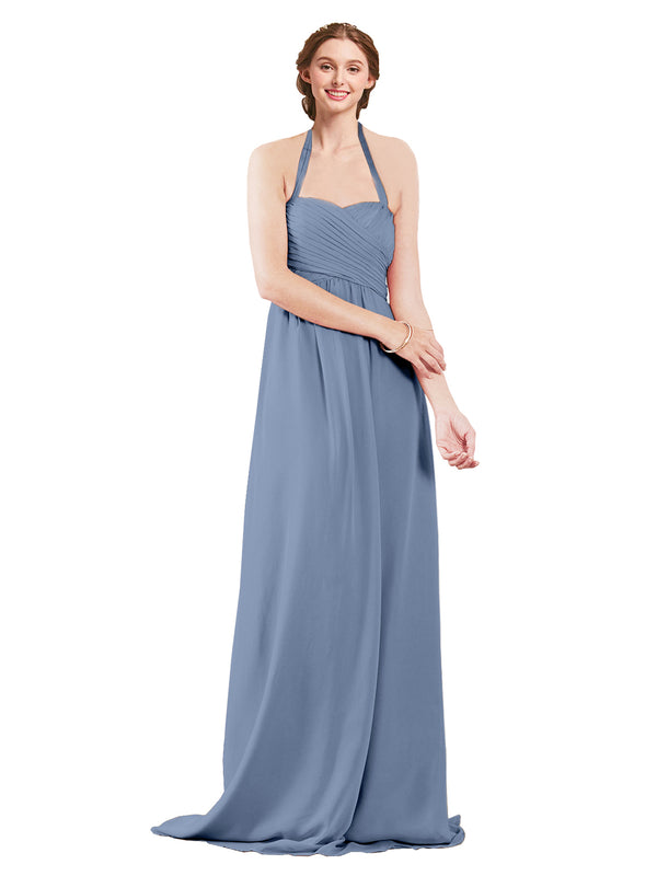 Mila Gowns Madison Long A-Line Sweetheart Halter Chiffon Dusty Blue Bridesmaid Dress Floor Length Open Back Sleeveless 174033