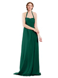 Mila Gowns Madison Long A-Line Sweetheart Halter Chiffon Ever Green Bridesmaid Dress Floor Length Open Back Sleeveless 174033