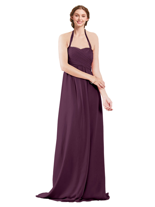 Mila Gowns Madison Long A-Line Sweetheart Halter Chiffon Grape Bridesmaid Dress Floor Length Open Back Sleeveless 174033