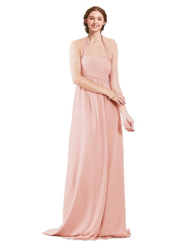 Mila Gowns Madison Long A-Line Sweetheart Halter Chiffon Ice Pink Bridesmaid Dress Floor Length Open Back Sleeveless 174033