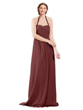 Mila Gowns Madison Long A-Line Sweetheart Halter Chiffon Marsala Bridesmaid Dress Floor Length Open Back Sleeveless 174033