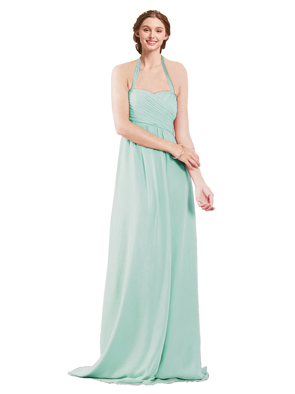 Mila Gowns Madison Long A-Line Sweetheart Halter Chiffon Mint Green Bridesmaid Dress Floor Length Open Back Sleeveless 174033