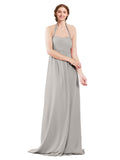 Mila Gowns Madison Long A-Line Sweetheart Halter Chiffon Oyster Silver Bridesmaid Dress Floor Length Open Back Sleeveless 174033
