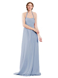 Mila Gowns Madison Long A-Line Sweetheart Halter Chiffon Periwinkle Bridesmaid Dress Floor Length Open Back Sleeveless 174033