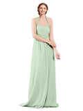 Mila Gowns Madison Long A-Line Sweetheart Halter Chiffon Sage Bridesmaid Dress Floor Length Open Back Sleeveless 174033