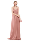 Mila Gowns Madison Long A-Line Sweetheart Halter Chiffon Salmon Bridesmaid Dress Floor Length Open Back Sleeveless 174033
