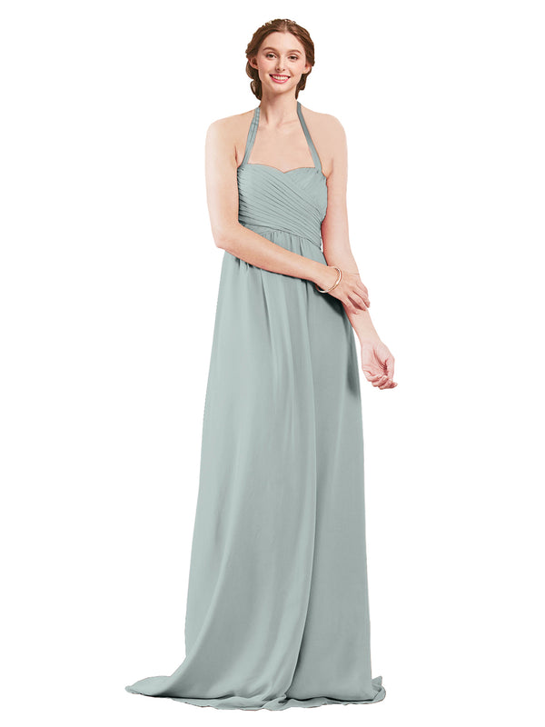 Mila Gowns Madison Long A-Line Sweetheart Halter Chiffon Seaside Bridesmaid Dress Floor Length Open Back Sleeveless 174033