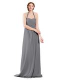 Mila Gowns Madison Long A-Line Sweetheart Halter Chiffon Slate Grey Bridesmaid Dress Floor Length Open Back Sleeveless 174033