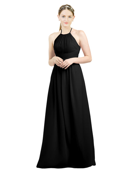 Mila Gowns Mia Long A-Line High Neck Halter Chiffon Black Bridesmaid Dress Floor Length Open Back Sleeveless 174023