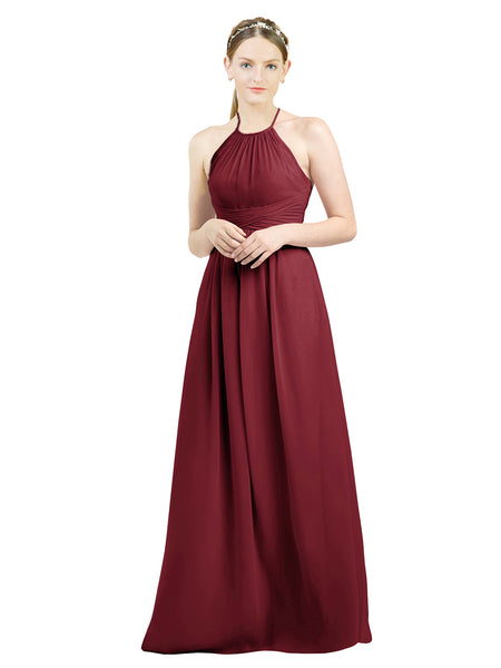 Mila Gowns Mia Long A-Line High Neck Halter Chiffon Burgundy Bridesmaid Dress Floor Length Open Back Sleeveless 174023