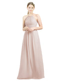 Mila Gowns Mia Long A-Line High Neck Halter Chiffon Champagne 42 Bridesmaid Dress Floor Length Open Back Sleeveless 174023