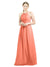 Mila Gowns Mia Long A-Line High Neck Halter Chiffon Coral Bridesmaid Dress Floor Length Open Back Sleeveless 174023