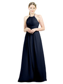 Mila Gowns Mia Long A-Line High Neck Halter Chiffon Dark Navy Bridesmaid Dress Floor Length Open Back Sleeveless 174023