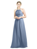 Mila Gowns Mia Long A-Line High Neck Halter Chiffon Dusty Blue Bridesmaid Dress Floor Length Open Back Sleeveless 174023
