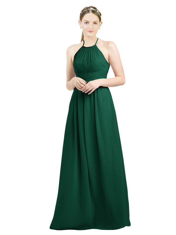 Mila Gowns Mia Long A-Line High Neck Halter Chiffon Ever Green Bridesmaid Dress Floor Length Open Back Sleeveless 174023