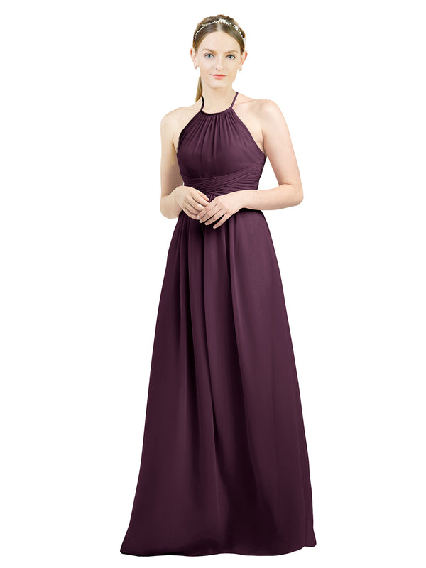 Mila Gowns Mia Long A-Line High Neck Halter Chiffon Grape Bridesmaid Dress Floor Length Open Back Sleeveless 174023