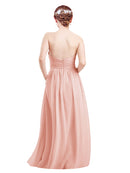 Mila Gowns Mia Long A-Line High Neck Halter Chiffon Ice Pink Bridesmaid Dress Floor Length Open Back Sleeveless 174023
